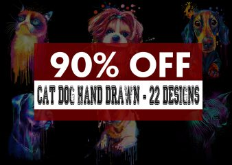 Super Cool Dog Cat Hand Drawn Bundle t shirt template vector