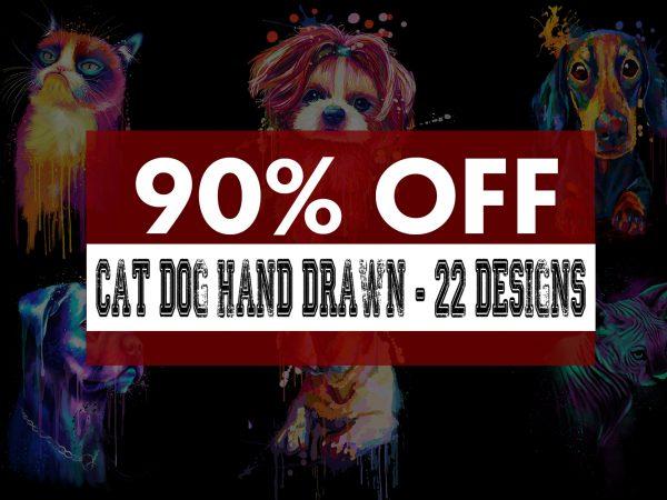 Super Cool Dog Cat Hand Drawn Bundle t shirt template vector