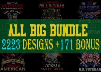 FULL BIG BUNDLE 2223 T-shirt Designs + Bonus more 171 graphic designs