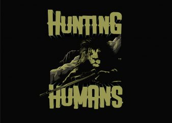LION HUNTING HUMANS t shirt vector graphic