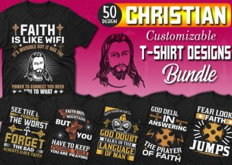 50 Editable Christian T-shirt Designs Bundle