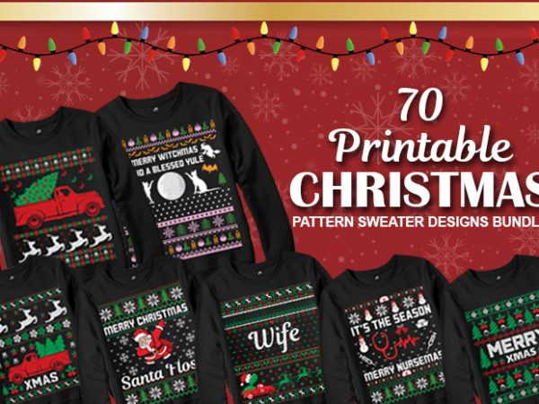 70 print ready Ugly Christmas Sweater Designs Bundle