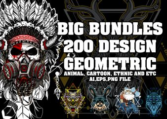 BIG BUNDLES 200 DESIGN PACK, GEOMETRIC ANIMAL, ETHNIC, AND CARTOON