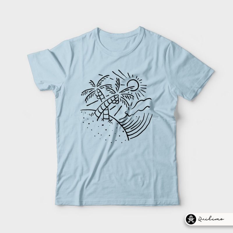 Beach and Wave vector shirt designs