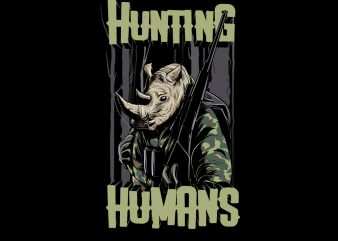RHINO HUNTING THE HUMANS t shirt design online