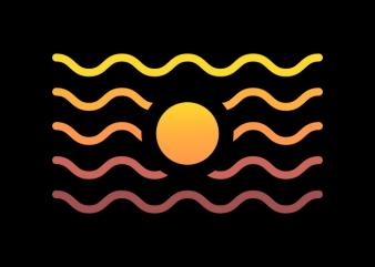 Sunset Wave t shirt template vector