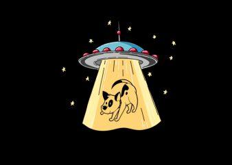 UFO Dog vector t shirt design for download