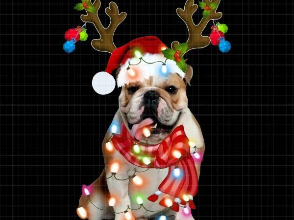 English Bulldog Santa Hat Reindeer Christmas Lights vector clipart