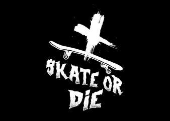 Skateboard Skeleton vector t shirt design for download