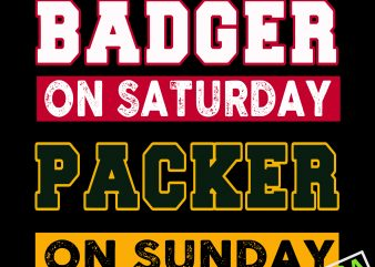 Badger on saturday packer on sunday svg,Badger on Saturday Packer on Sunday Green Bay Football buy t shirt design artwork