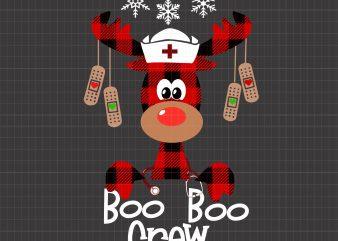 Boo boo crew Reindeer Nurse Christmas t shirt template