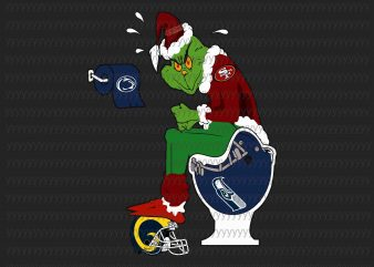 Grinch SF 49ers svg, Ginch svg, football svg, png, dxf, eps file vector t-shirt design for commercial use