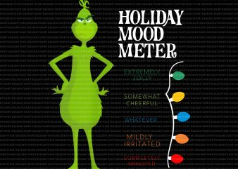 Holiday Mood Meter Extremely Jolly Somewhat Cheerful t shirt design for sale