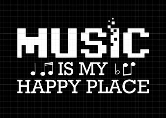 Music is my happy place t shirt designs for sale
