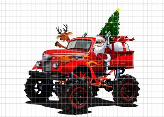 Monster Red Truck With Santa t shirt designs for sale