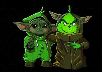Baby yoda and grinch, baby yoda t shirt template