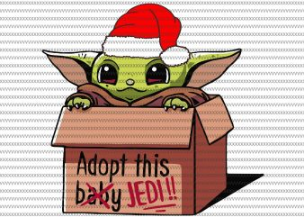 Adopt this baby jedi svg, Baby yoda with santa hat svg, The Mandalorian The Child svg , Baby Yoda christmas svg, star wars svg, png, The Child png t shirt vector