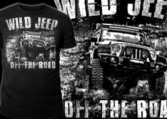 WILD JEEP print ready t shirt design