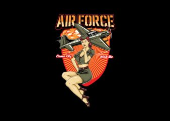 air force pin up Vector t-shirt design