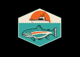 Bigger Boat from fish Vector t-shirt design