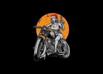 Biker Santa Girl Vector t-shirt design