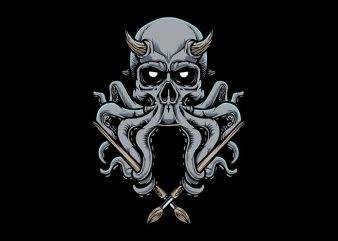 Skull Octopus Vector t-shirt design