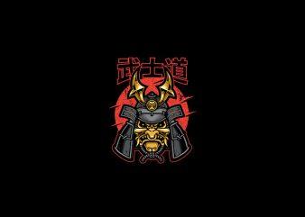 Samurai warrior mask Vector t-shirt design