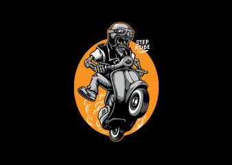 Skull Scooter Vector t-shirt design