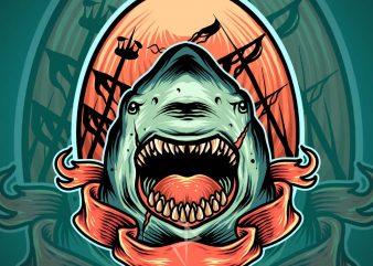 angry shark tshirt design