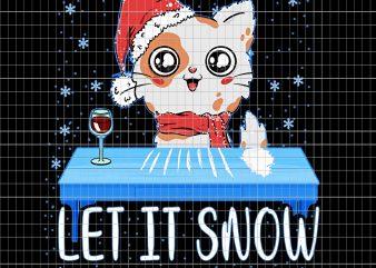 Let It Snow Santa Cocaine Adult Humor Cat Kitten Funny Gag t shirt vector graphic