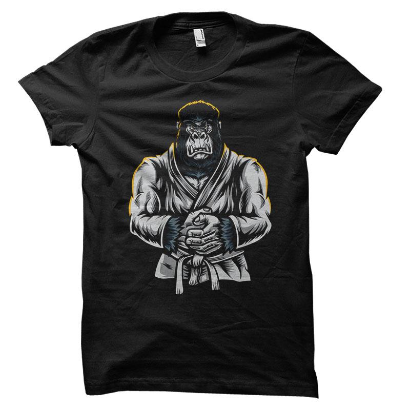 Jiu Jitsu Gorilla Vector t-shirt design t shirt designs for merch teespring and printful