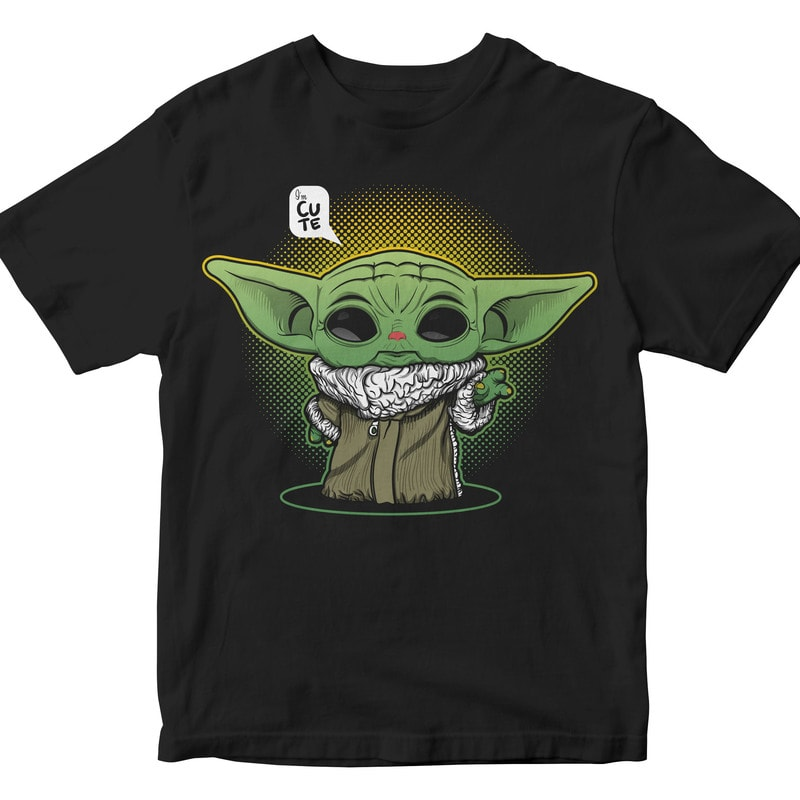 Cute Baby Yoda commercial use t shirt designs
