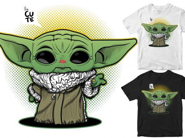 Cute Baby Yoda t shirt design for purchase