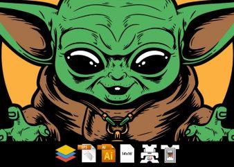 Baby Yoda Mean Face – Tshirt Design