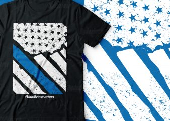 blue lives matters| blue police line america flag design |usa flag