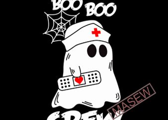 Boo Boo Crew Nurse Ghost Spider Web Funny Halloween SVG PNG EPS Cameo Silhouette Cutting File Cricut Craft Design Digital Download