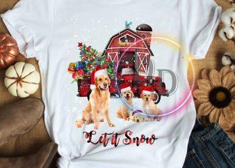 Golden dog Let it Snow Mery christmas T shirt