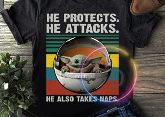 Yoda He protects he attacks he also takes naps vintage T shirt