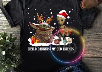 Yoda and Groot funny christmas hello darkness my old friends T shirt