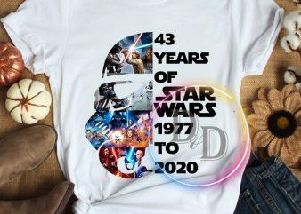 43 rd Anniversary Star wars 43 years of 1977-2020 T shirt