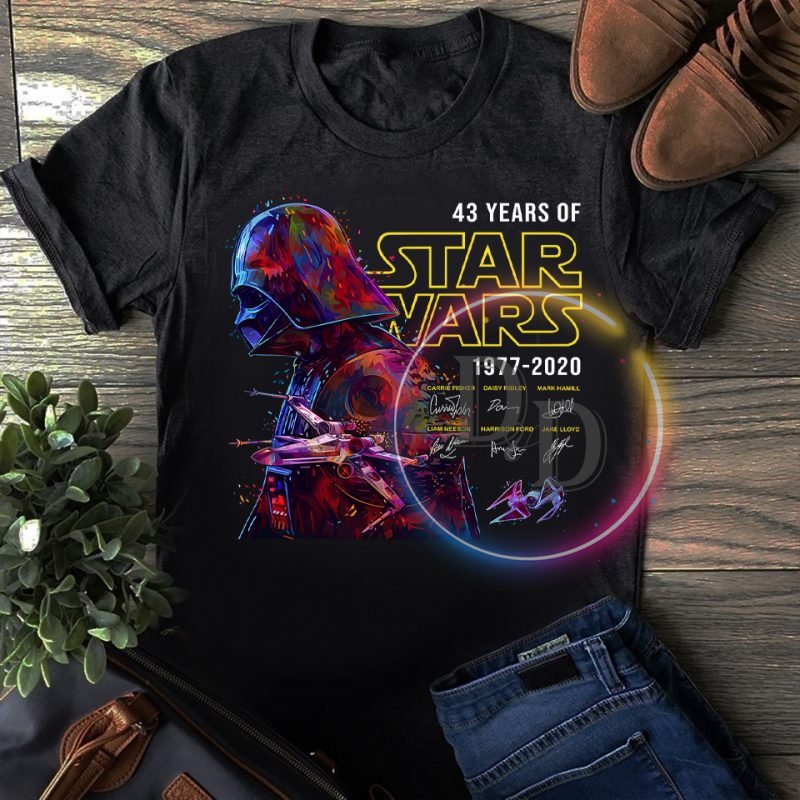 Vader Star wars 43 rd Anniversary 43 years of 1977-2020 T shirt t shirt designs for merch teespring and printful