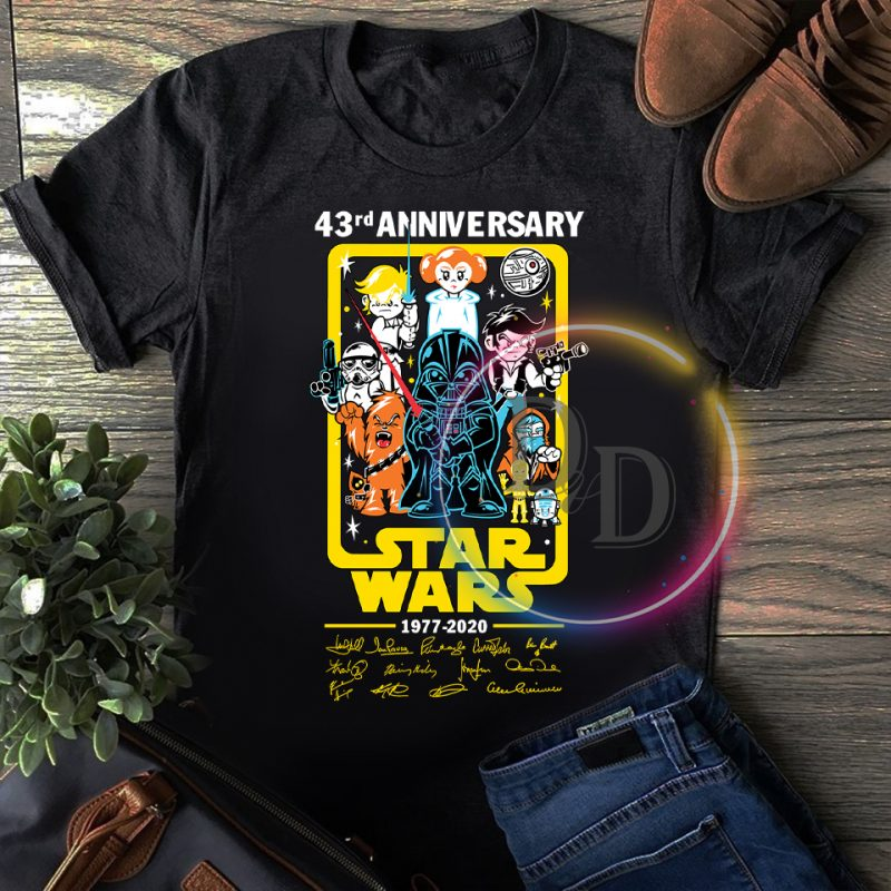 Star wars Chibi 43 rd Anniversary 43 years of 1977-2020 T shirt vector shirt designs