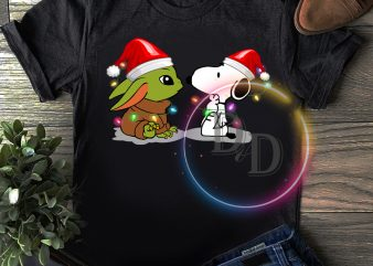 Baby Yoda & Snoopy Dog Merry Christmas T shirt
