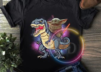 Baby Yoda Ride T-rex Star Wars T shirt Funny