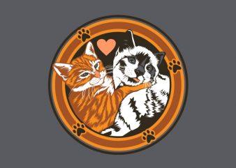 cat couple tshirt design vector