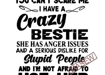 You Can't Scare Me I Have Crazy Bestie She Has Anger Issues And … SVG PNG EPS DXf digital download graphic t-shirt design