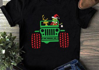 Grinch And Dog In Jeep PNG, Christmas Grinch PNG, Jeep PNG t shirt design template