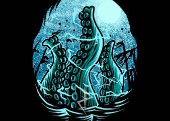 kraken awakening tshirt design