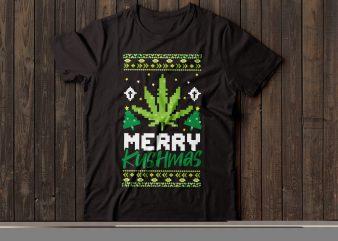 merry kushmas | ugly Christmas sweater | Santa | t-shirt design |marijuana design | weed tshirt design