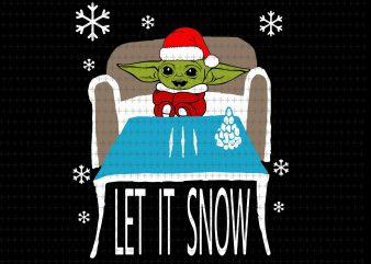 Cocaine yoda santa let it snow christmas, Baby yoda svg, Cocaine santa let it snow christmas svg, png, dxf, eps t shirt vector file